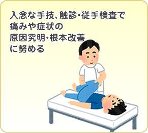 入念な手技・触診・従手検査で痛みや症状の原因究明・根本改善に努める